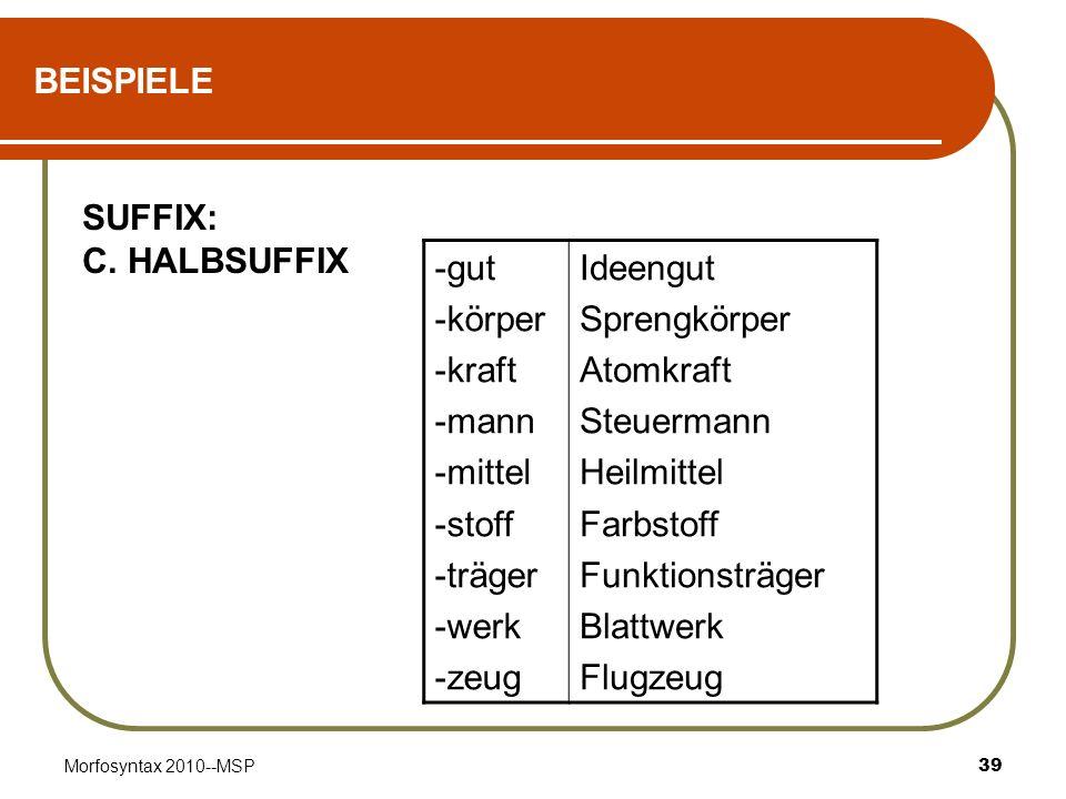 BEISPIELE SUFFIX: C. HALBSUFFIX -gut -körper -kraft -mann -mittel
