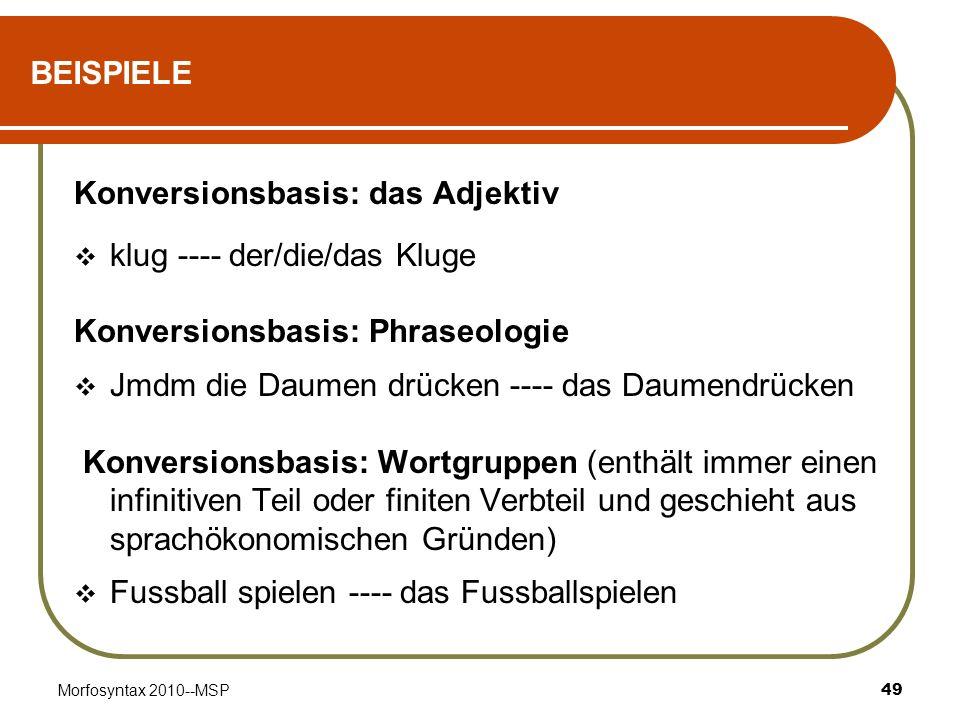 Konversionsbasis: das Adjektiv klug ---- der/die/das Kluge