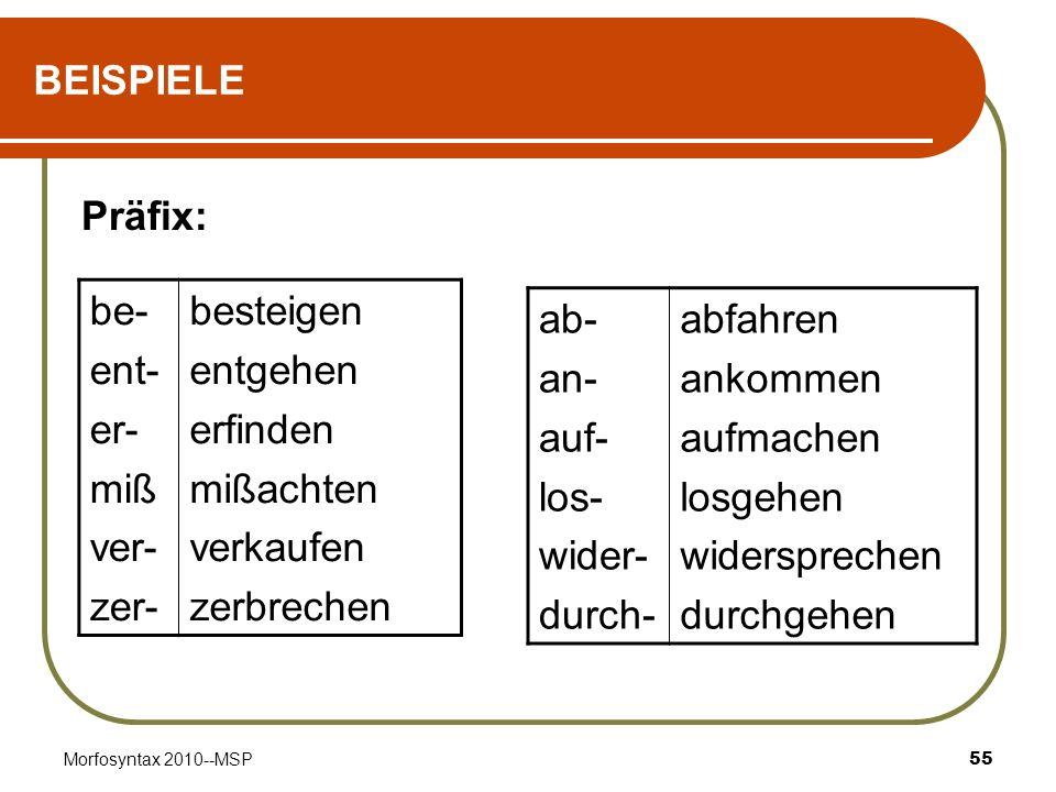 BEISPIELE Präfix: be- ent- er- miß ver- zer- besteigen entgehen
