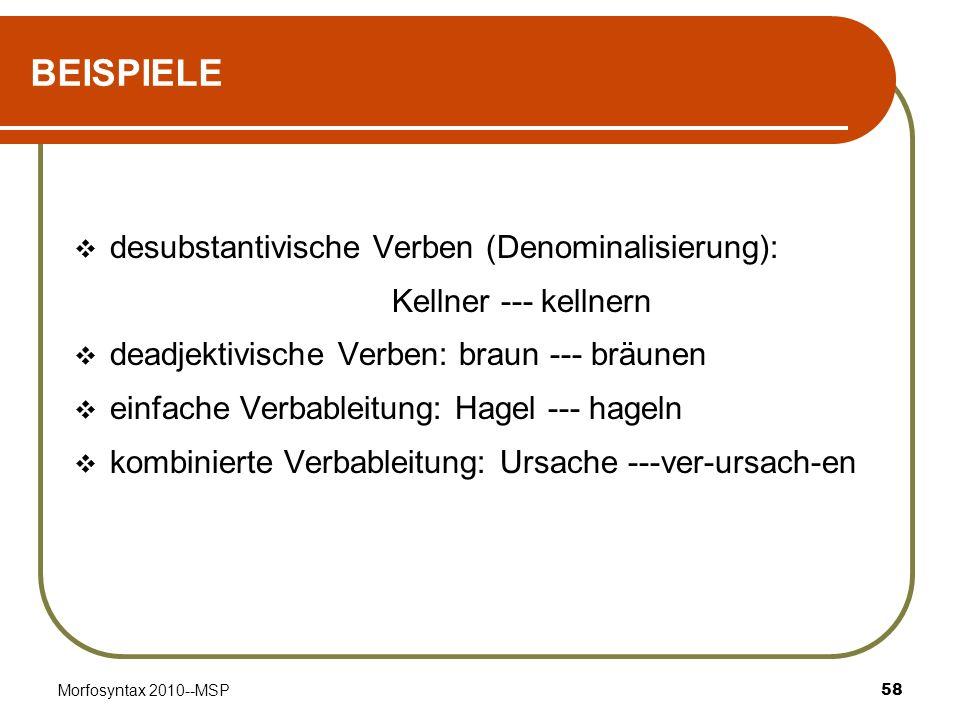 BEISPIELE desubstantivische Verben (Denominalisierung):