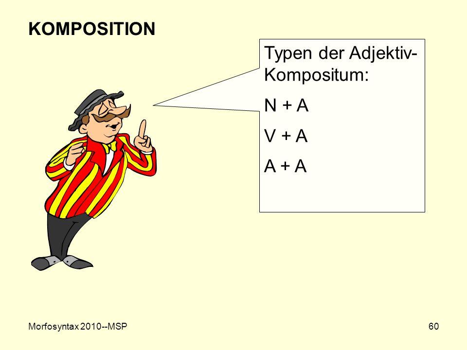 Typen der Adjektiv-Kompositum: N + A V + A A + A