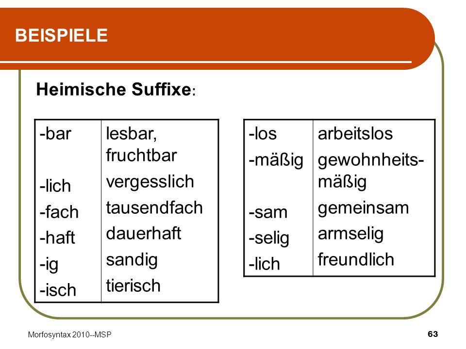 BEISPIELE Heimische Suffixe: -bar -lich -fach -haft -ig -isch