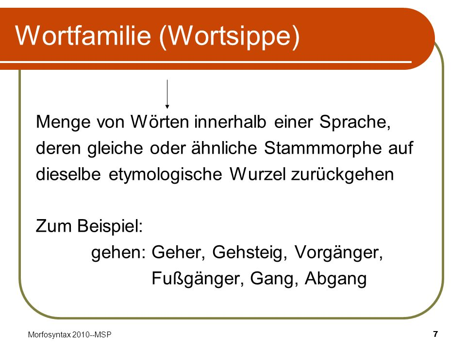 Wortfamilie (Wortsippe)