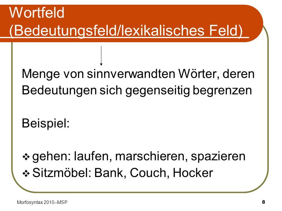 Wortfeld (Bedeutungsfeld/lexikalisches Feld)