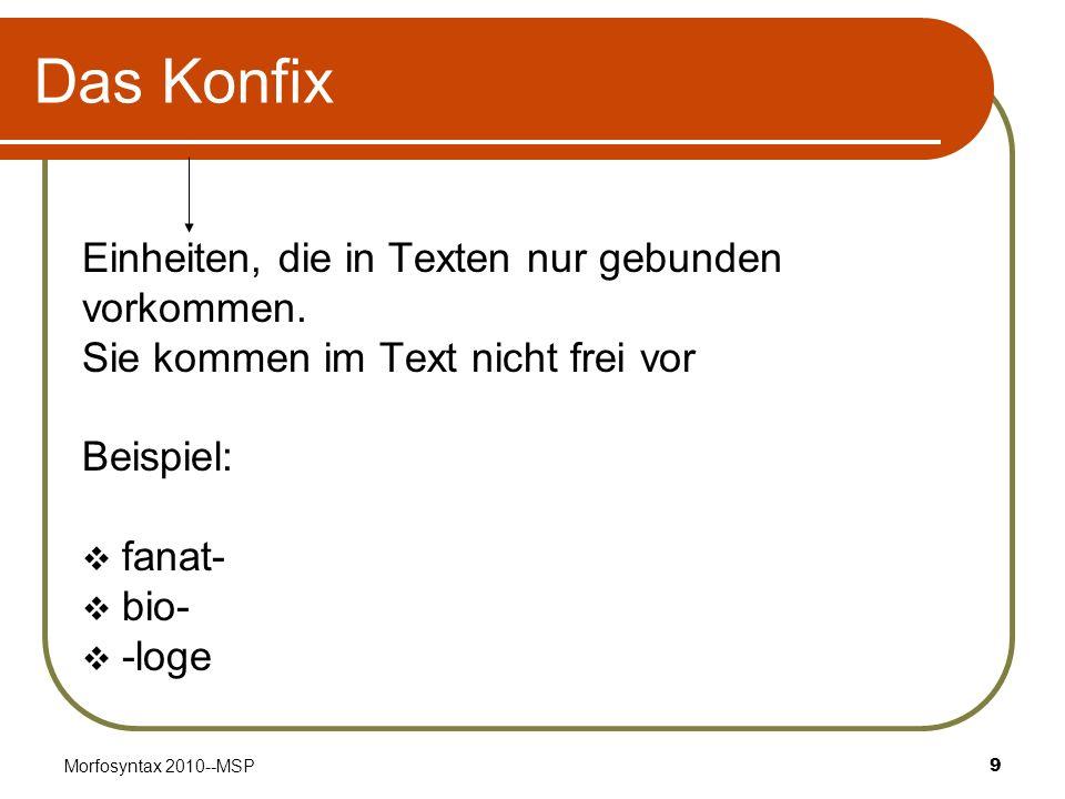 Das Konfix Einheiten, die in Texten nur gebunden vorkommen.