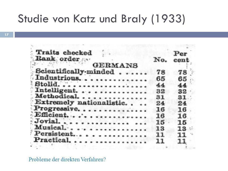 Studie von Katz und Braly (1933)