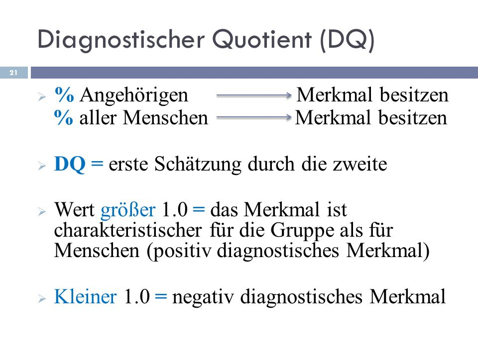 Diagnostischer Quotient (DQ)