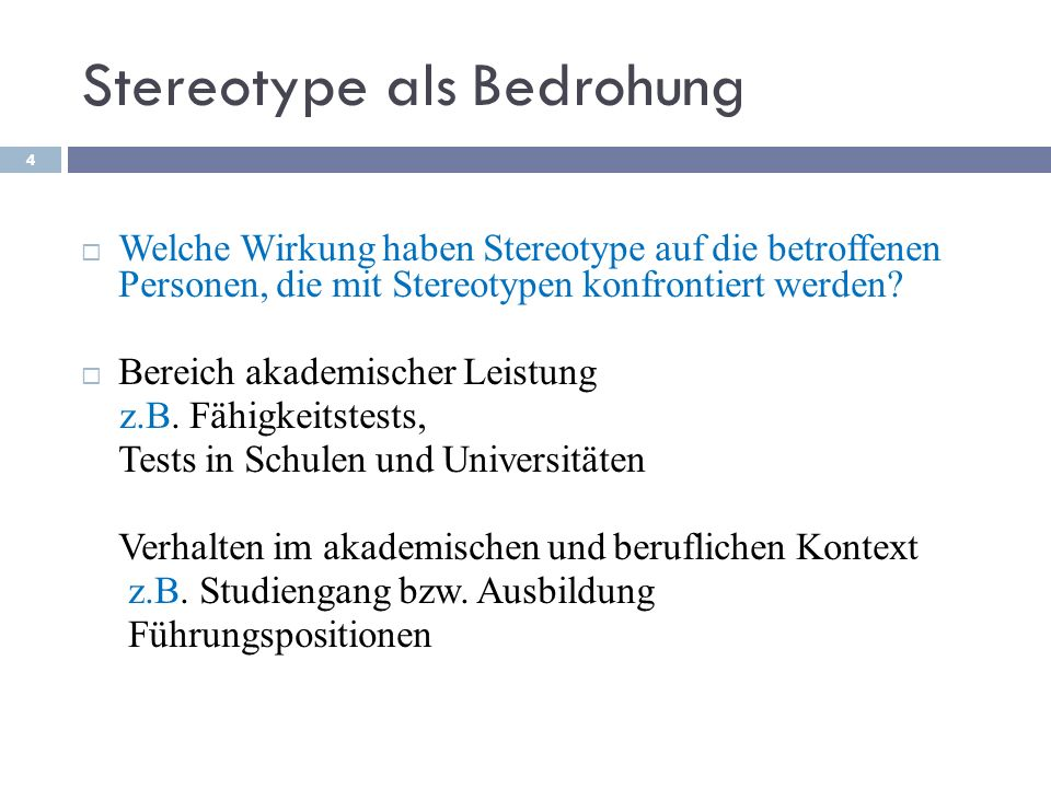 Stereotype als Bedrohung
