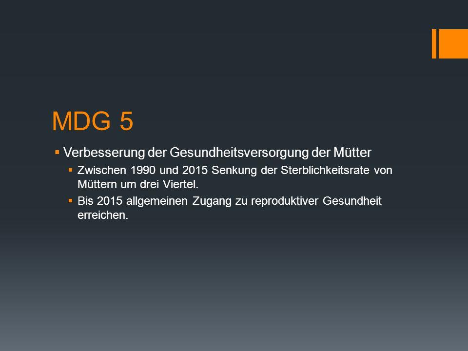 MDG 5 Verbesserung der Gesundheitsversorgung der Mütter
