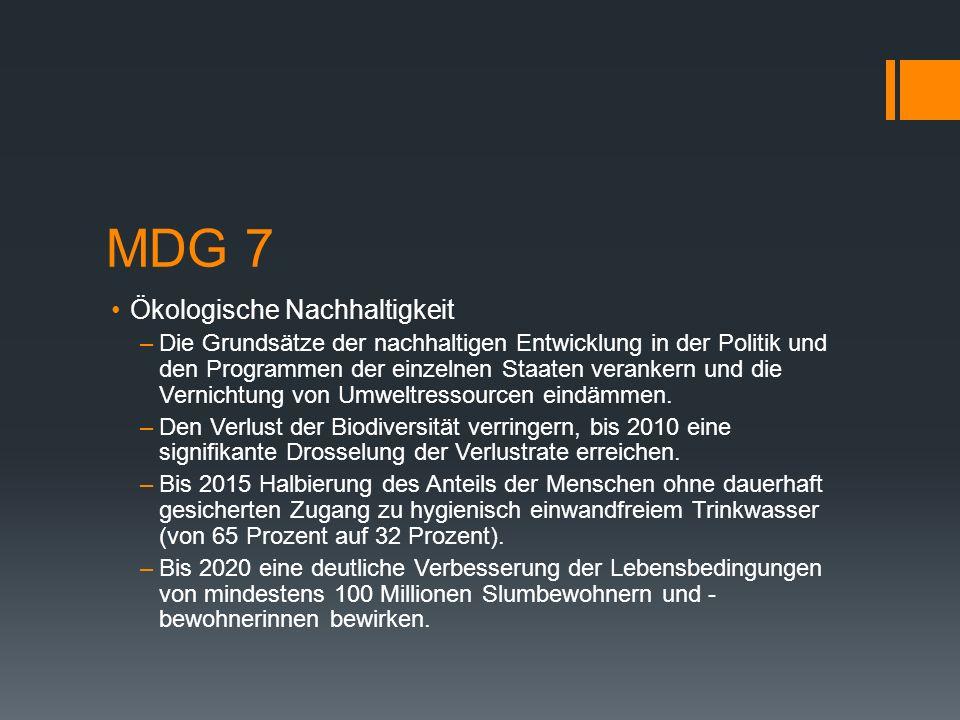 MDG 7 Ökologische Nachhaltigkeit