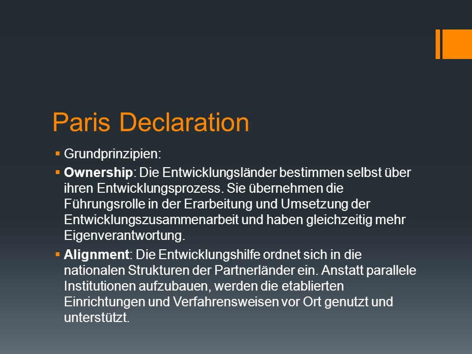Paris Declaration Grundprinzipien: