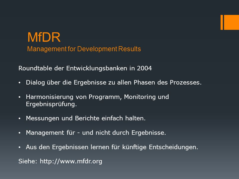 MfDR Management for Development Results