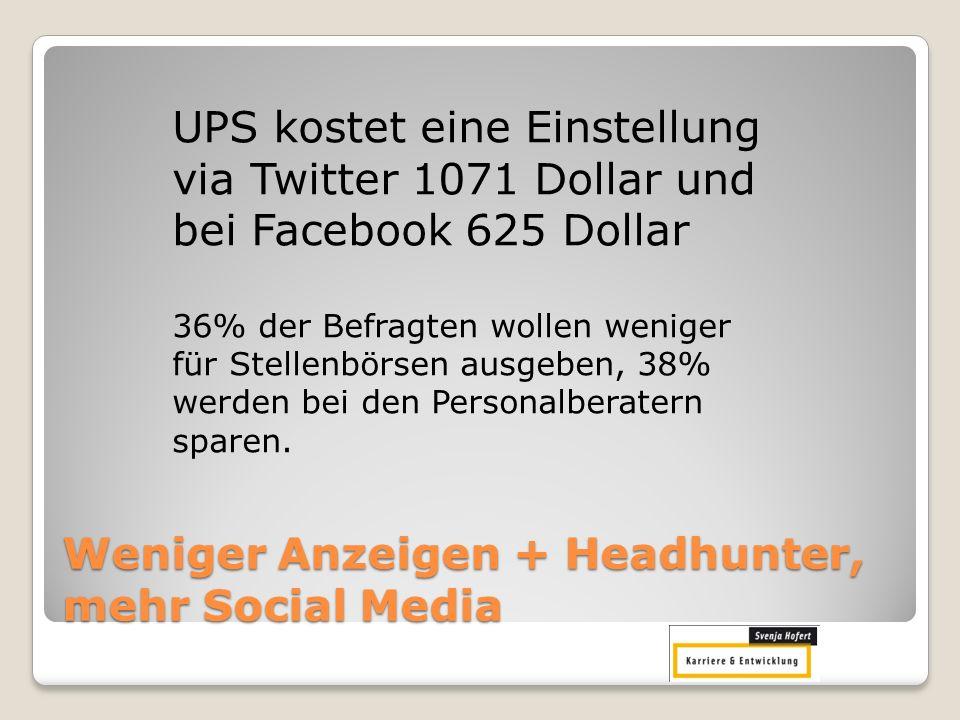 Weniger Anzeigen + Headhunter, mehr Social Media