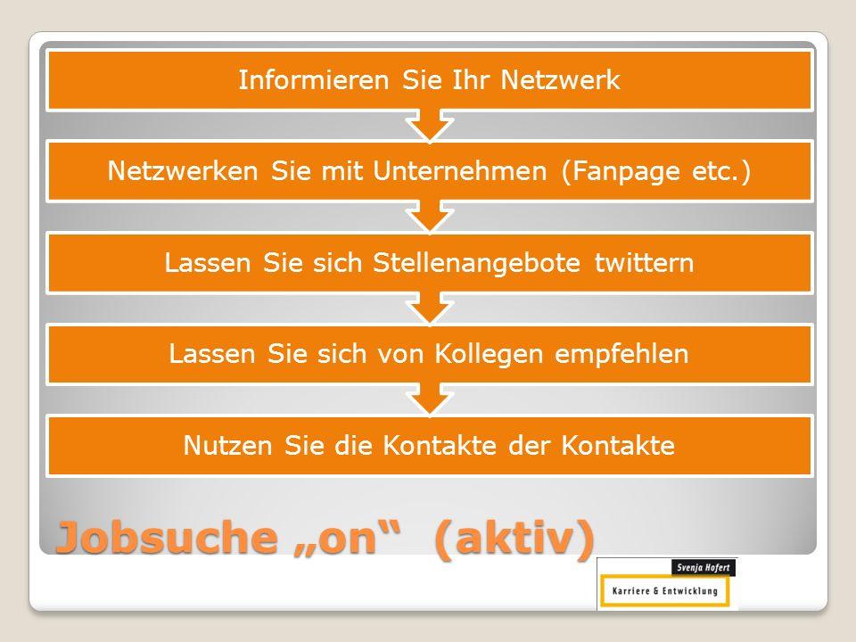 """Jobsuche """"on (aktiv) Informieren Sie Ihr Netzwerk"""