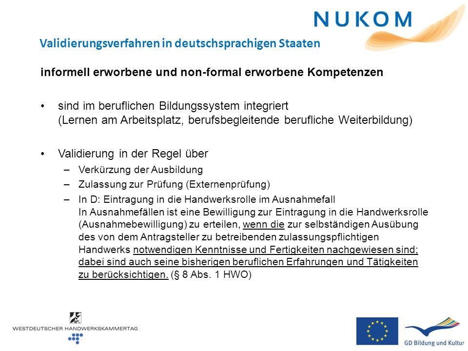 Validierungsverfahren in deutschsprachigen Staaten