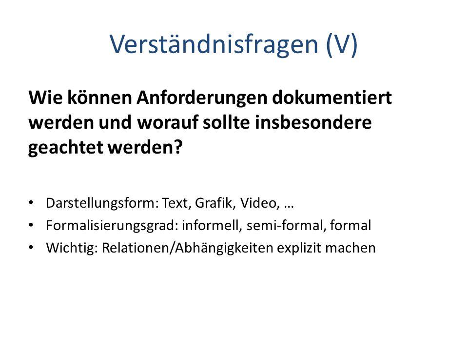 Verständnisfragen (V)