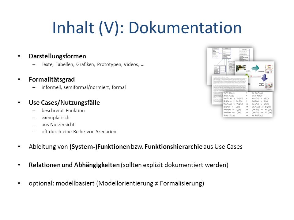 Inhalt (V): Dokumentation