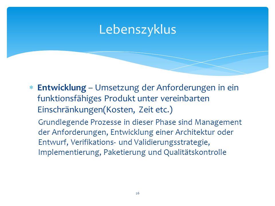Lebenszyklus Entwicklung – Umsetzung der Anforderungen in ein funktionsfähiges Produkt unter vereinbarten Einschränkungen(Kosten, Zeit etc.)