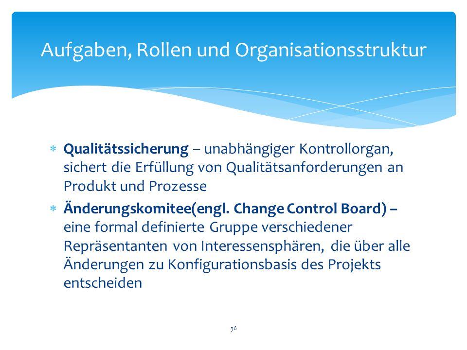 Aufgaben, Rollen und Organisationsstruktur