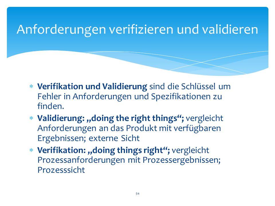Anforderungen verifizieren und validieren