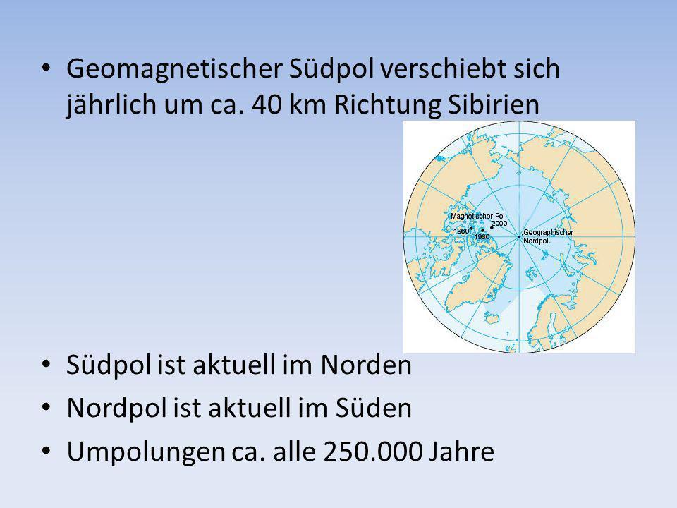 Geomagnetischer Südpol verschiebt sich jährlich um ca