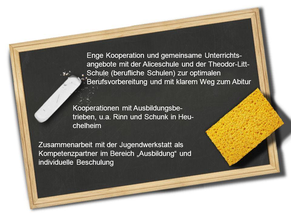Enge Kooperation und gemeinsame Unterrichts-angebote mit der Aliceschule und der Theodor-Litt-Schule (berufliche Schulen) zur optimalen Berufsvorbereitung und mit klarem Weg zum Abitur