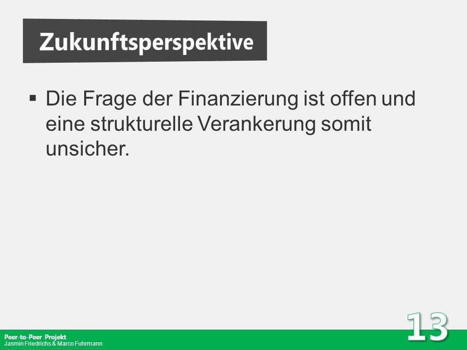 Zukunftsperspektive Die Frage der Finanzierung ist offen und eine strukturelle Verankerung somit unsicher.