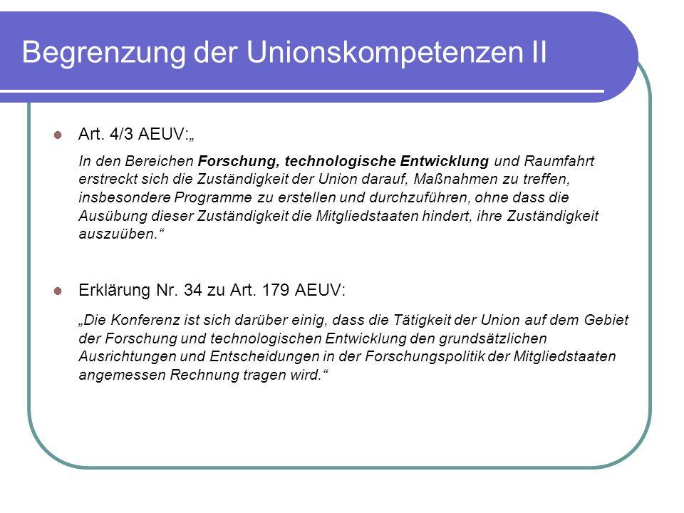 Begrenzung der Unionskompetenzen II