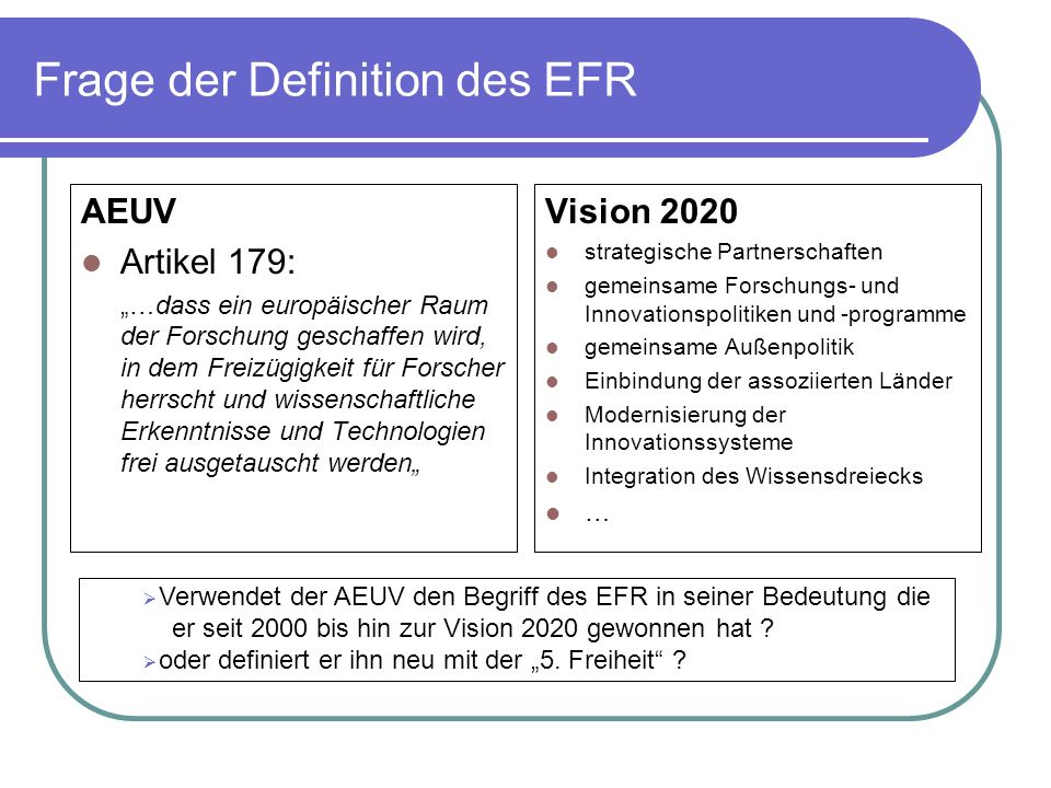 Frage der Definition des EFR