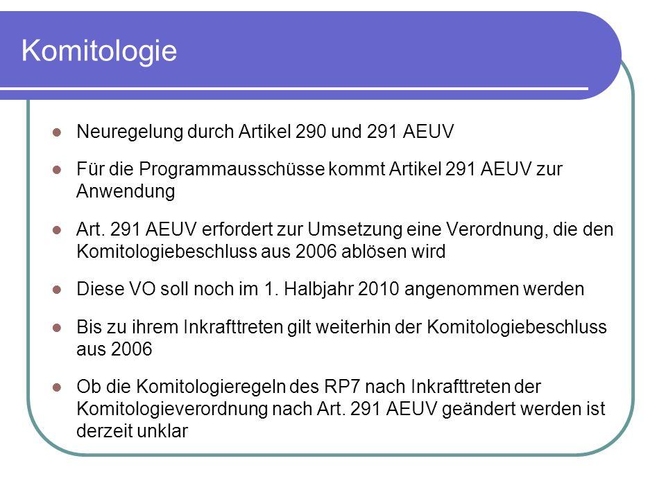 Komitologie Neuregelung durch Artikel 290 und 291 AEUV