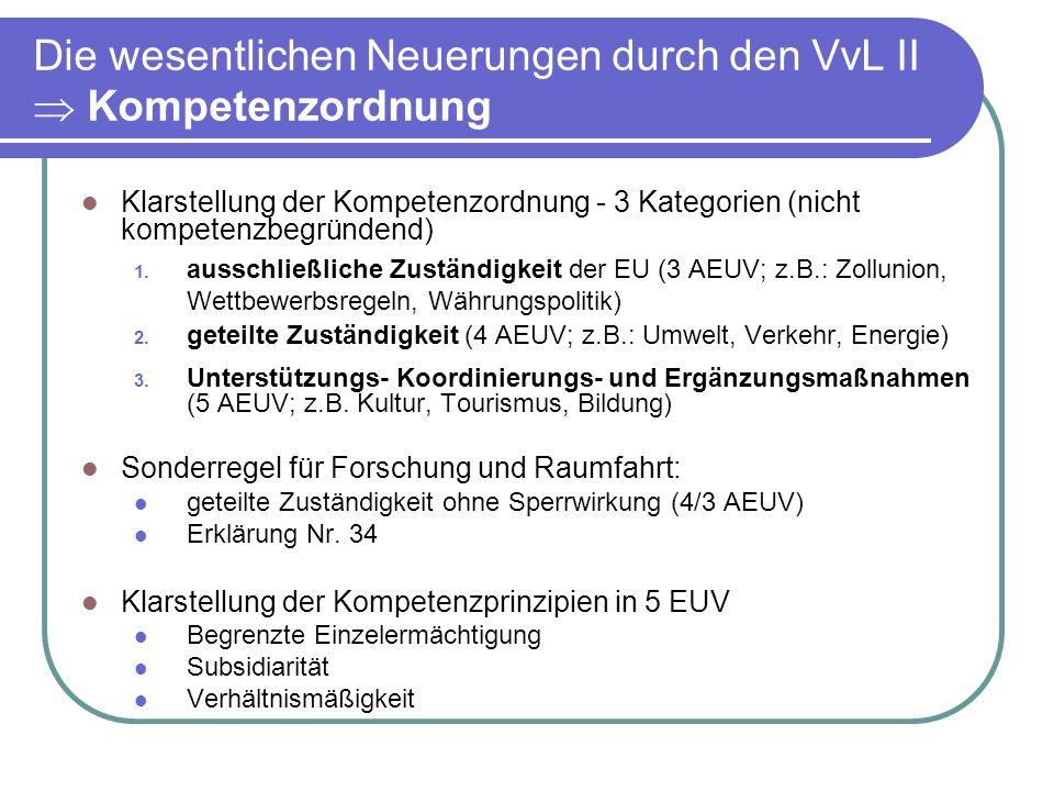 Die wesentlichen Neuerungen durch den VvL II  Kompetenzordnung