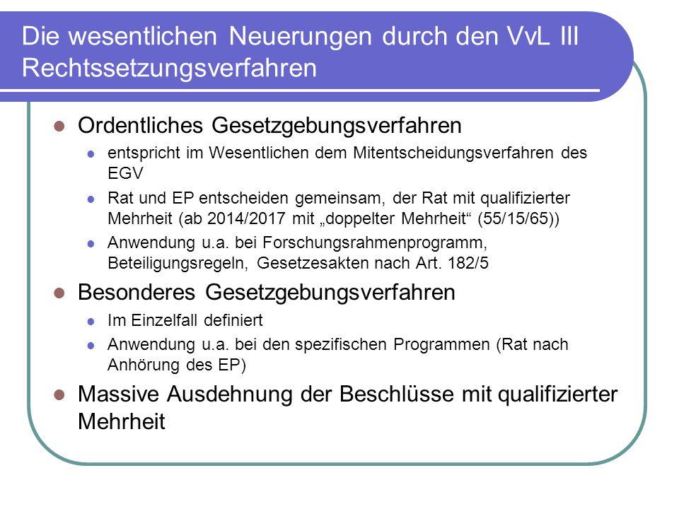 Die wesentlichen Neuerungen durch den VvL III Rechtssetzungsverfahren