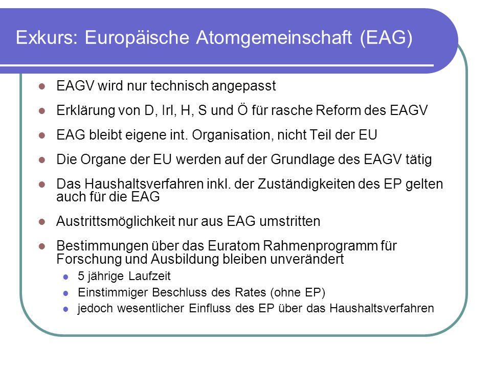 Exkurs: Europäische Atomgemeinschaft (EAG)