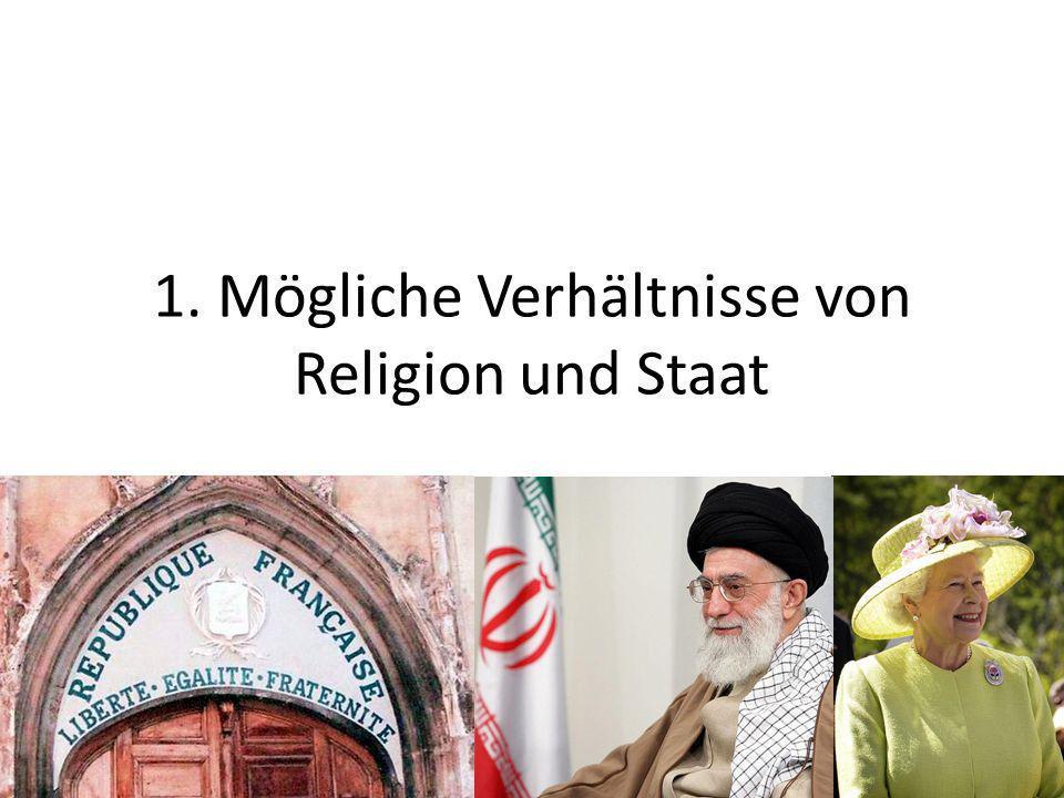 1. Mögliche Verhältnisse von Religion und Staat