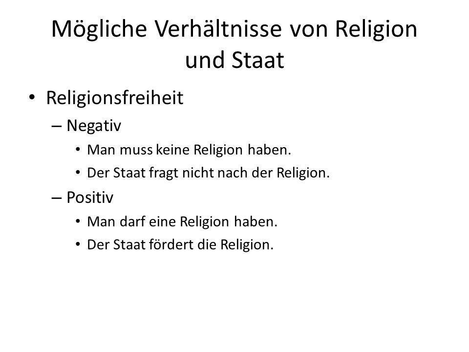 Mögliche Verhältnisse von Religion und Staat