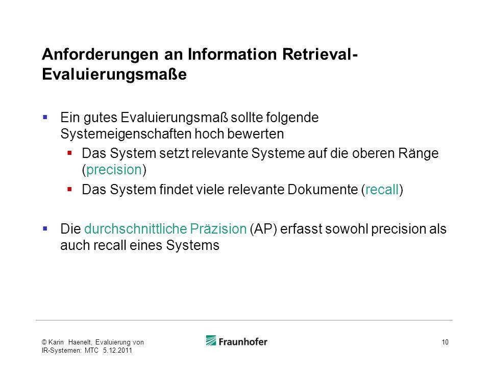 Anforderungen an Information Retrieval-Evaluierungsmaße