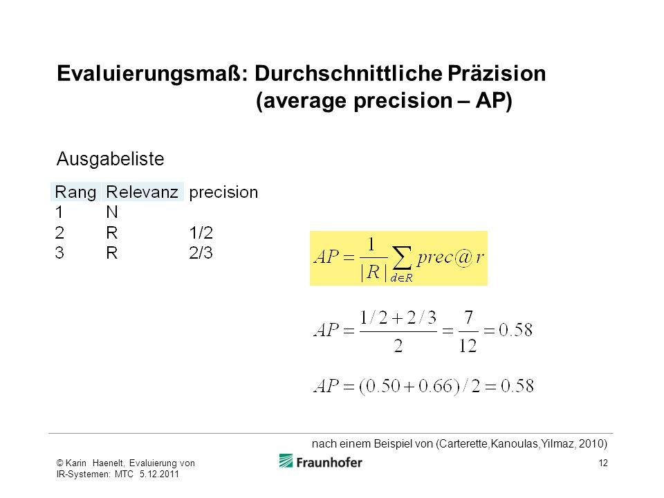 Evaluierungsmaß: Durchschnittliche Präzision (average precision – AP)