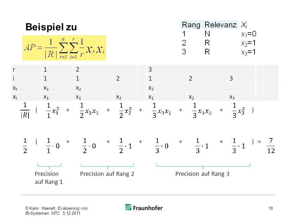 Beispiel zu Precision auf Rang 1 Precision auf Rang 2