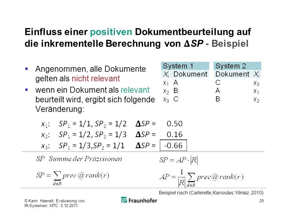 Einfluss einer positiven Dokumentbeurteilung auf die inkrementelle Berechnung von 𝚫SP - Beispiel