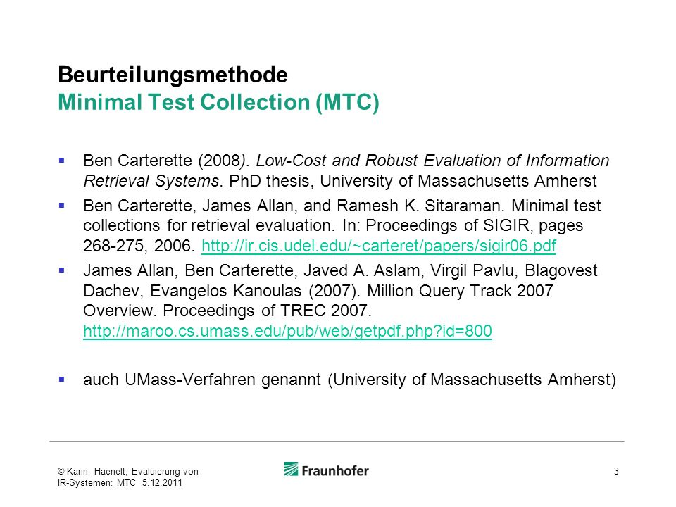 Beurteilungsmethode Minimal Test Collection (MTC)