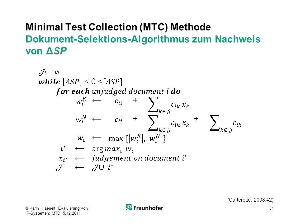 Minimal Test Collection (MTC) Methode Dokument-Selektions-Algorithmus zum Nachweis von ΔSP