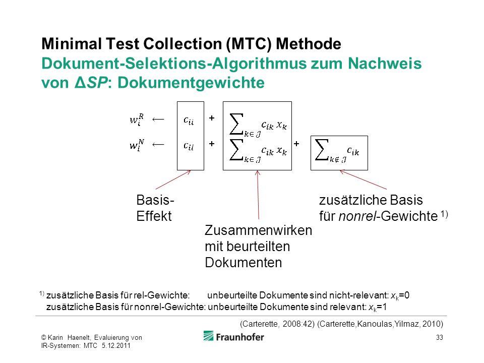 Minimal Test Collection (MTC) Methode Dokument-Selektions-Algorithmus zum Nachweis von ΔSP: Dokumentgewichte