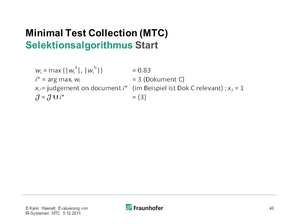 Minimal Test Collection (MTC) Selektionsalgorithmus Start