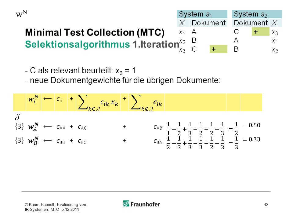 Minimal Test Collection (MTC) Selektionsalgorithmus 1.Iteration