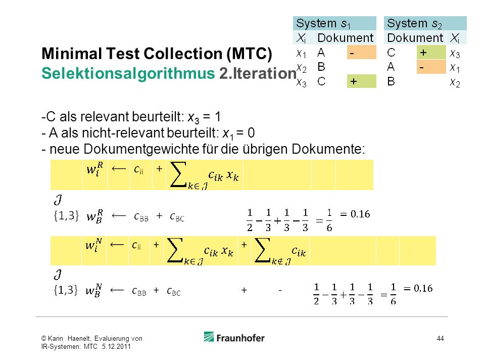 Minimal Test Collection (MTC) Selektionsalgorithmus 2.Iteration