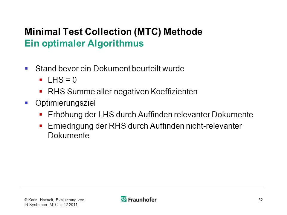 Minimal Test Collection (MTC) Methode Ein optimaler Algorithmus