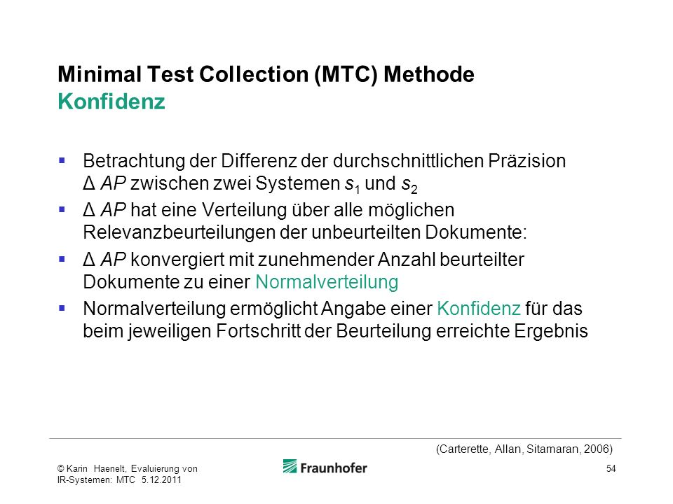 Minimal Test Collection (MTC) Methode Konfidenz