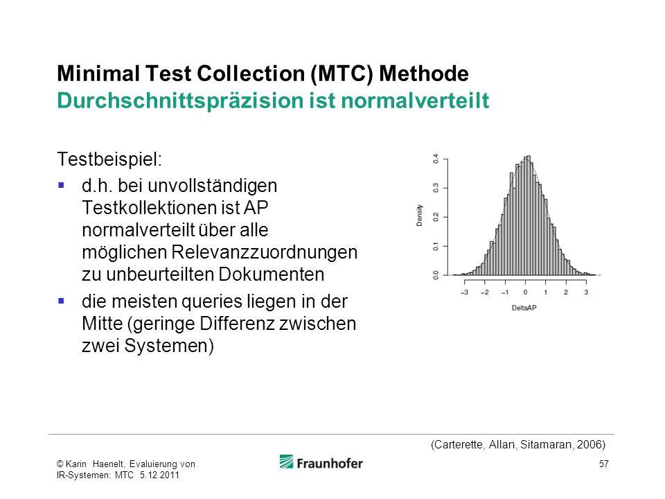 Minimal Test Collection (MTC) Methode Durchschnittspräzision ist normalverteilt