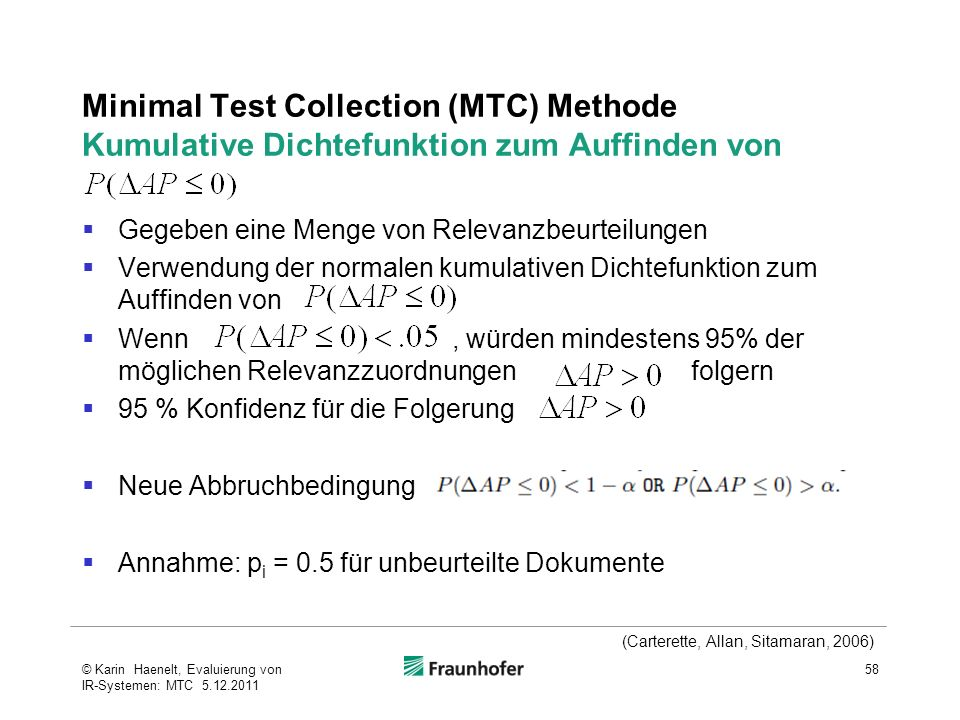 Minimal Test Collection (MTC) Methode Kumulative Dichtefunktion zum Auffinden von