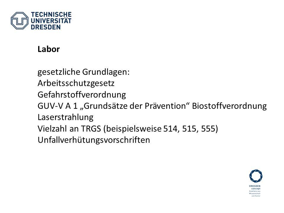 """Labor gesetzliche Grundlagen: Arbeitsschutzgesetz. Gefahrstoffverordnung. GUV-V A 1 """"Grundsätze der Prävention Biostoffverordnung."""